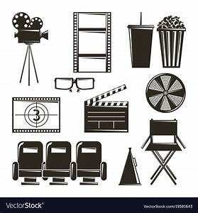 Cinema movie film equipment set icons Royalty Free Vector
