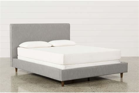 living spaces beds dean charcoal eastern king upholstered panel bed living