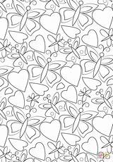 Coloring Pages Pattern Hearts Butterflies Printable Paper Games sketch template