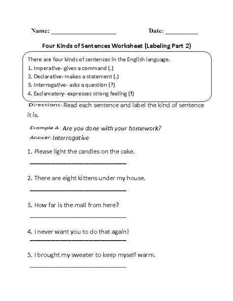 sentences worksheets kinds  sentences worksheets