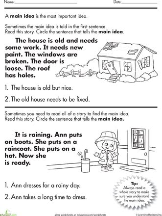 main idea of a story worksheet worksheets what s and speech therapy