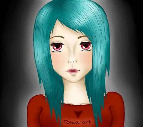 Girl With Teal Hair By Tonia Chan On Deviantart