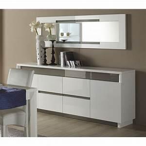 Meuble Blanc Et Gris : stunning meuble salle a manger laque blanc pictures ~ Dailycaller-alerts.com Idées de Décoration