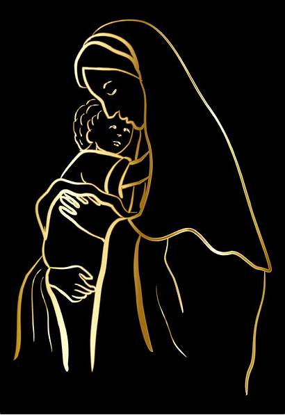Jesus Mary Virgin Outline Vector Gold Mother