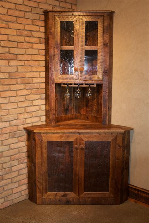 mini corner bar handcrafted from reclaimed barnwood by