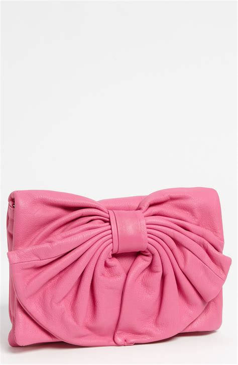 red valentino bow leather clutch  pink bright pink lyst