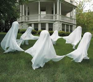 Halloween Solar Yard Stakes by Creepy Staked Yard Ghosts The Green Head