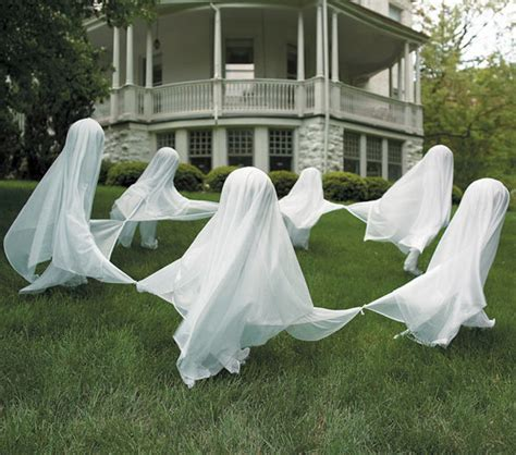 ghost decorations creepy staked yard ghosts the green head