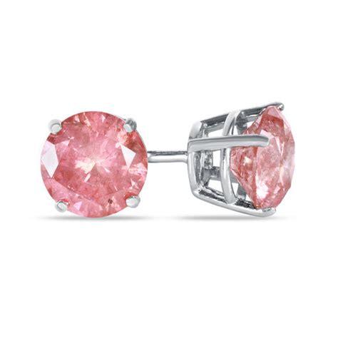 ct tw enhanced pink diamond solitaire stud earrings