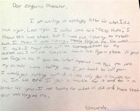 parents  sixth grader write apology   dis patcher