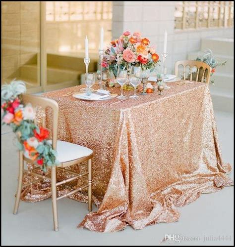 champagne rose gold sequined tablecloth wedding party