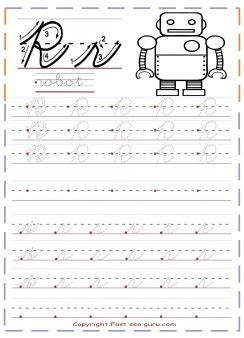 cursive handwriting tracing worksheets letter   robot