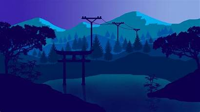 Flat Landscape Wallpapers Japan Minimalist Background Wallpaperplay
