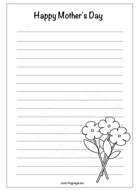 mothers day writing paper  coloring page