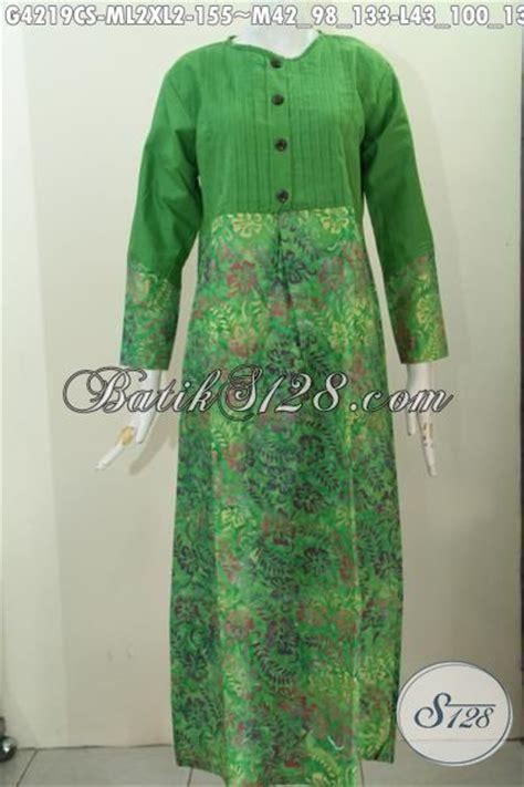 long dress batik warna hijau motif unik proses cap smoke