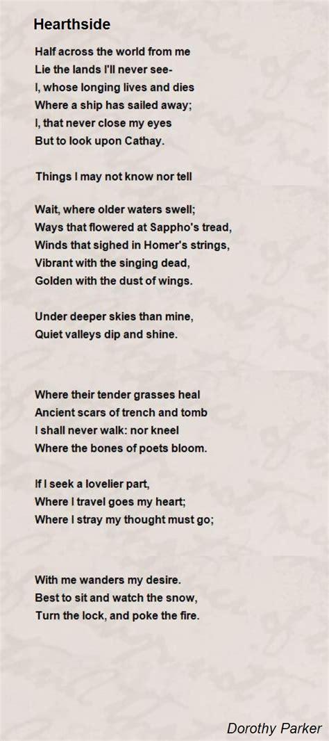 hearthside poem  dorothy parker poem hunter
