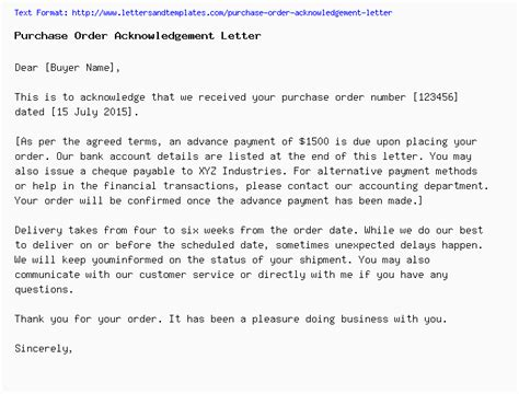 purchase order acknowledgement letter