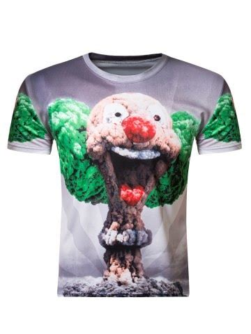 neck clown mushroom cloud print short sleeve