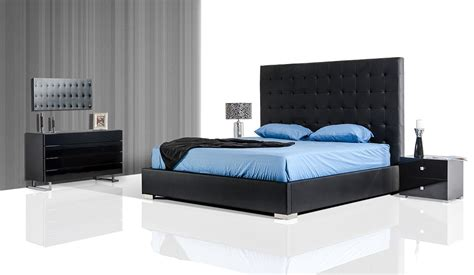 King Size Bedrooms Sets by Lyrica Black Eco Leather Tall Headboard Bed With Storage