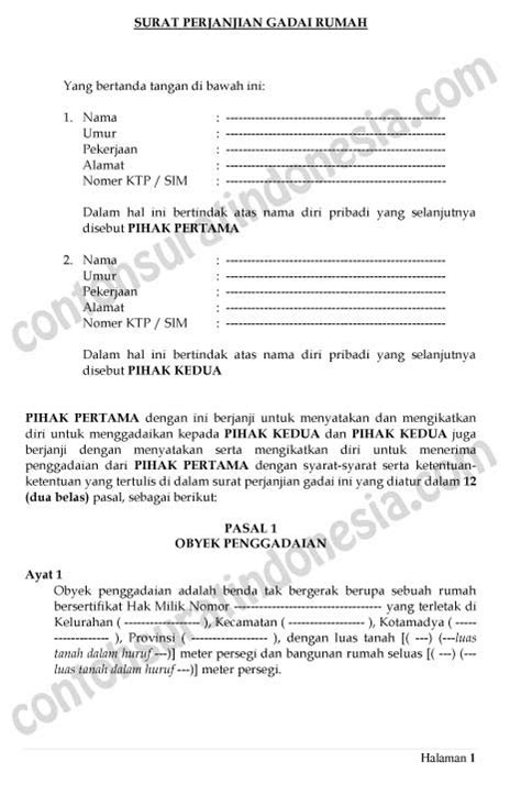 contoh surat perjanjian gadai rumah   pasal