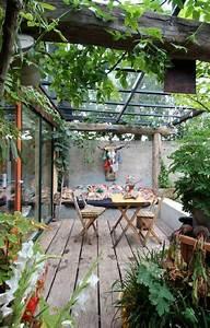 deko terrasse mit glas uberdachung garten pinterest With französischer balkon mit pergola garten