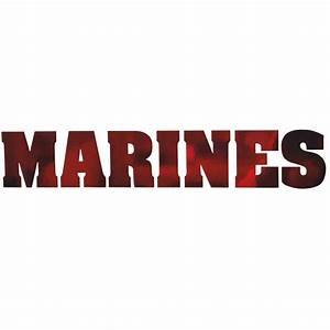 Marines Bold Font Die Cut Red Chrome Decal