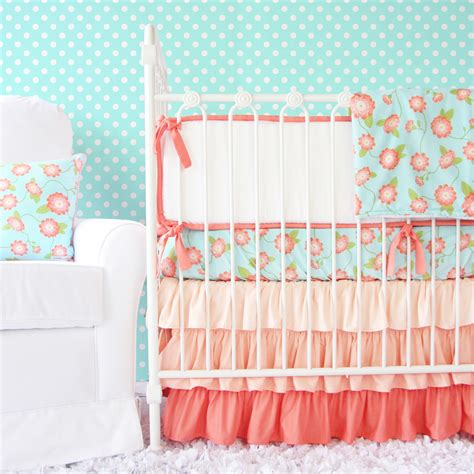 Aqua And Coral Crib Bedding by Giveaway Caden Three Crib Set Project Nursery