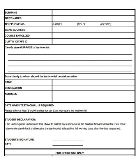 sample testimonial request forms  ms word