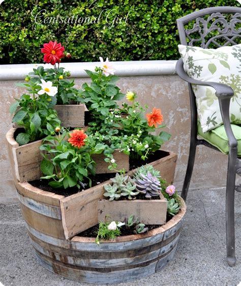wine barrel planters recycled wine barrel planter centsational