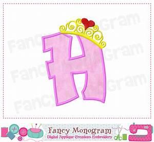 Pincess crown Monogram H applique,Birthday Letter H ...