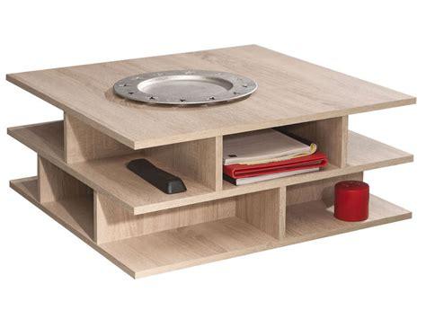 Table Basse Carrée 70 Cm Multi Coloris Chêne Naturel Chez