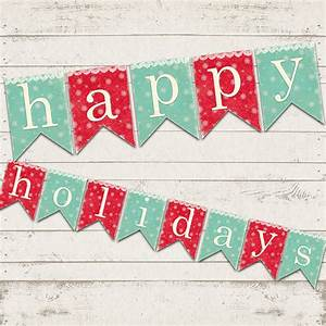 Items similar to Christmas Decor - Happy Holidays Banner ...