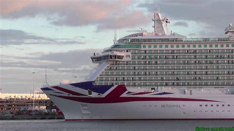 Pu0026O Cruises U0026quot;Britanniau0026quot; Reverse Departure Port Side Southampton 9th Oct 2016 - YouTube