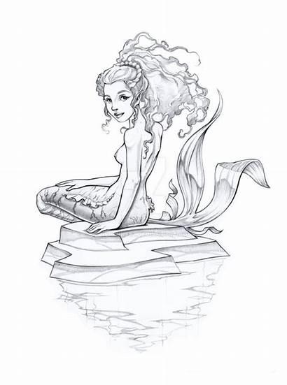 Mermaid Pencil Sketch Realistic Drawing Pen Getdrawings
