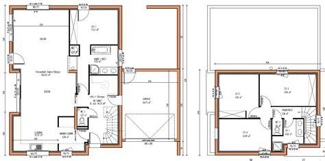 plan maison cuisine ouverte maison contemporaine à étage avec cuisine ouverte et suite