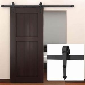 6 ft modern american steel sliding barn door hardware black With 6 foot barn door hardware