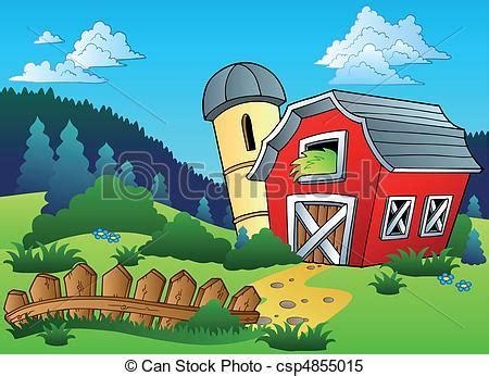 landscape  farm  fence vector illustration