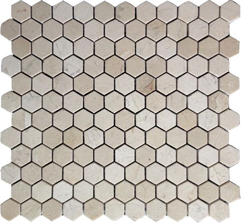 crema marfil mosaic tile crema marfil marble 1x1 hexagon mosaic tile honed