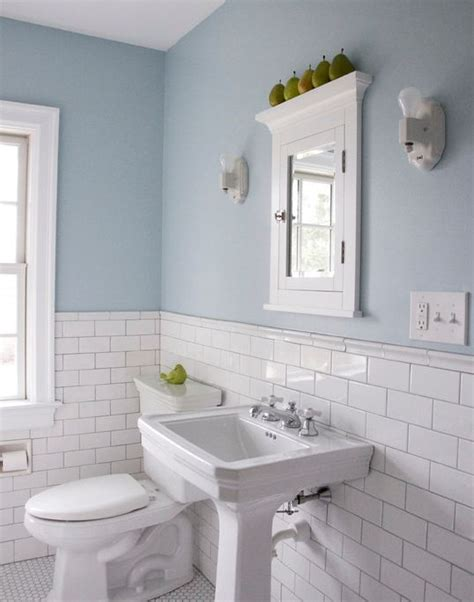 subway tiles w chair rail top bathrooms