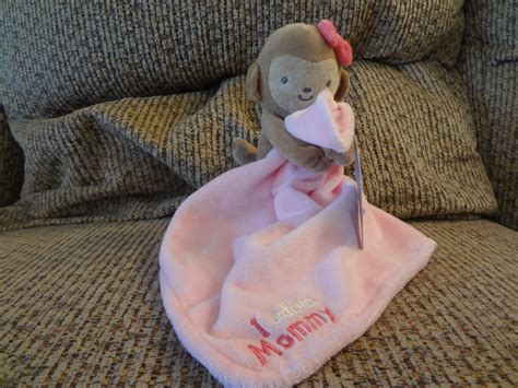 Nwt Carters Just One You I Adore Mommy Monkey Rattles Pink Security Blanket Lovey Plush 9