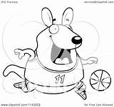Wallaby Cartoon Kangaroo Playing Basketball Chubby Clipart Coloring Cory Thoman Outlined Vector 2021 sketch template