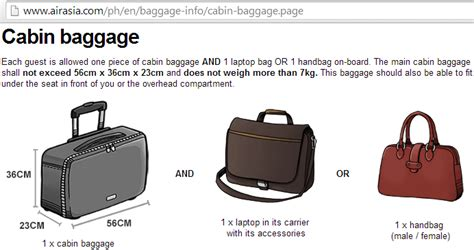 cabin baggage allowance as of july 12 2014