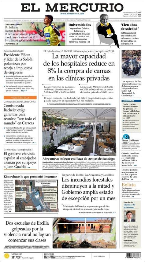 Portada Jueves 07 de Marzo-El Mercurio (Chile)   ALnavío