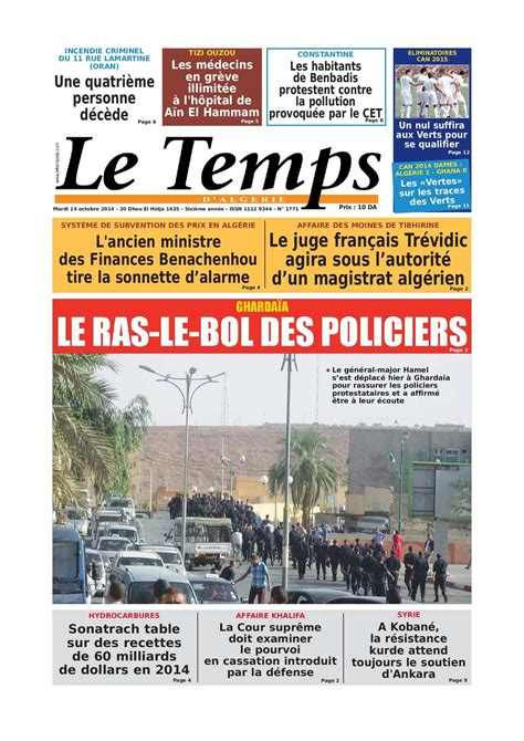 Calaméo  Le Temps D'algérie Edition Du Mardi 14 Octobre 2014