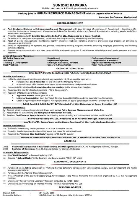 hr resume templates sle resume cover letter format