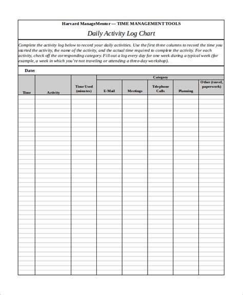 daily activity log template    samples
