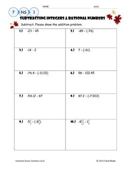 subtracting integers rational numbers worksheet by april