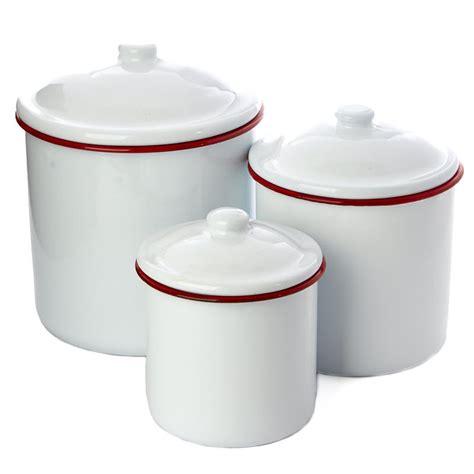 white enamel canister set decorative accents primitive