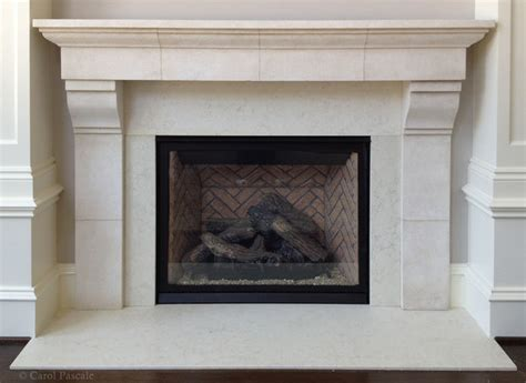 Kitchen Cabinet Knob Ideas - french limestone fireplace mantel traditional philadelphia by carol pascale studio