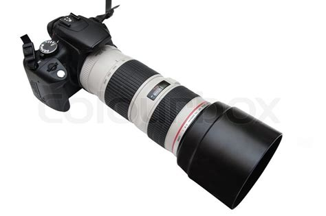 camera  teleobjective lens   white background